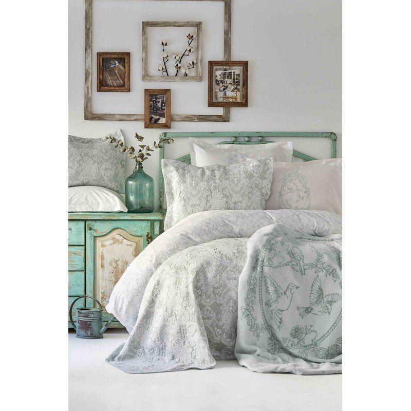 5ac311d40f4c Набор постельное белье с покрывалом + плед Karaca Home - Onofre su yesil  2019-1