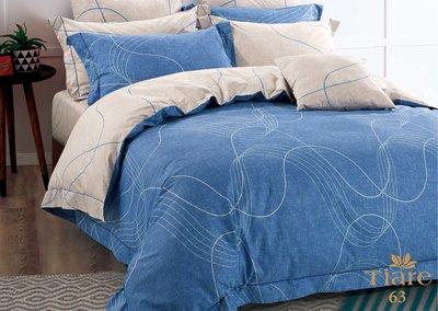 Голубое постельное белье с абстрактным орнаментом