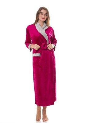 Темно-красный женский длинный халат