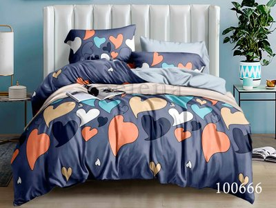 Комплект постельного белья темно-синий в сердечках
