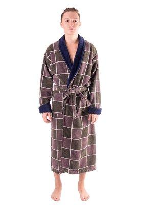 Махровый хлопковый халат для мужчины в коричневую клетку